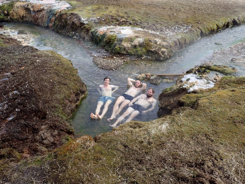 The geothermally heated river in Reykjadalur in Iceland