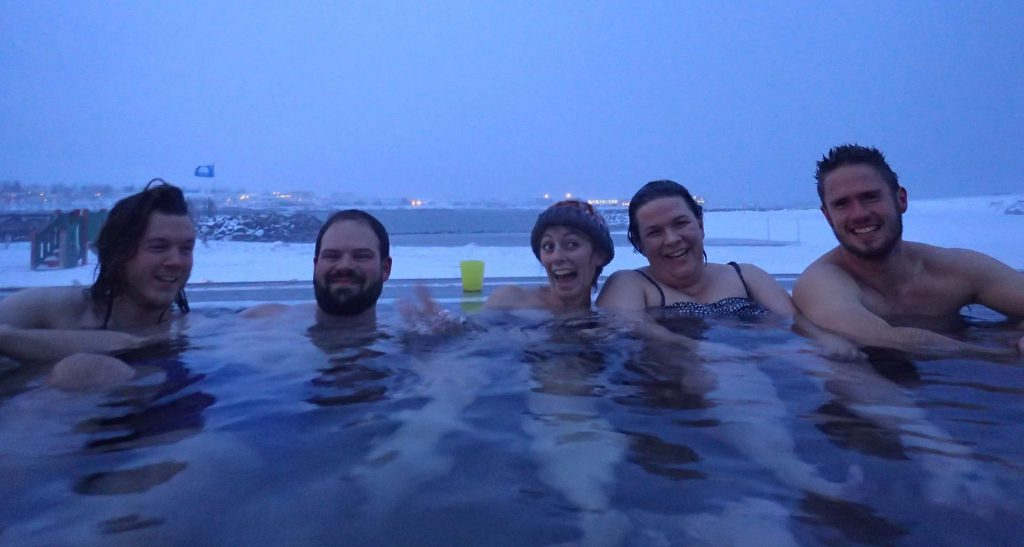 Some after work relaxation in Nauthólsvík hot spring in Reykjavík